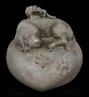 Animal Urn - Dog Angel on Heart in Stonelook