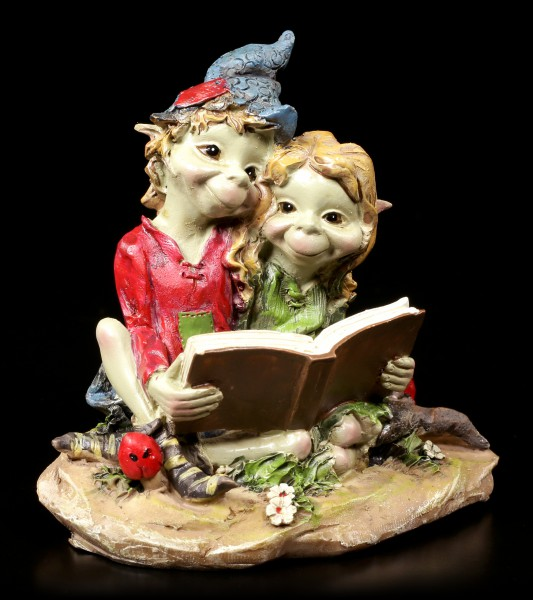 Pixie Figur - Pärchen liest in einem Buch