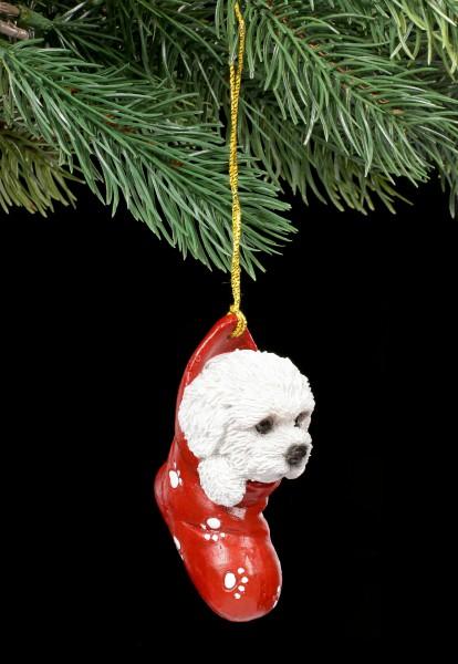 Christmas Tree Decoration Dog - Bichon Frise in Stocking