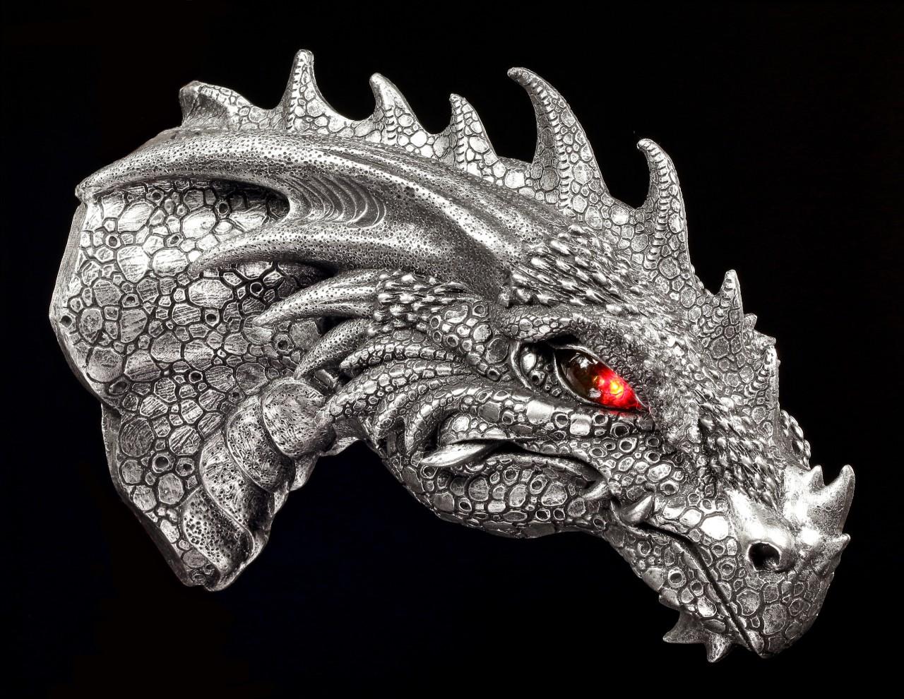 Drachen Wandrelief mit LED Augen - silberfarben