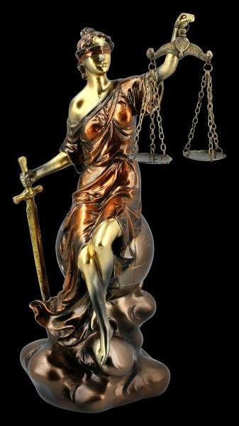 Lady Justice Figurine sitting on Globe