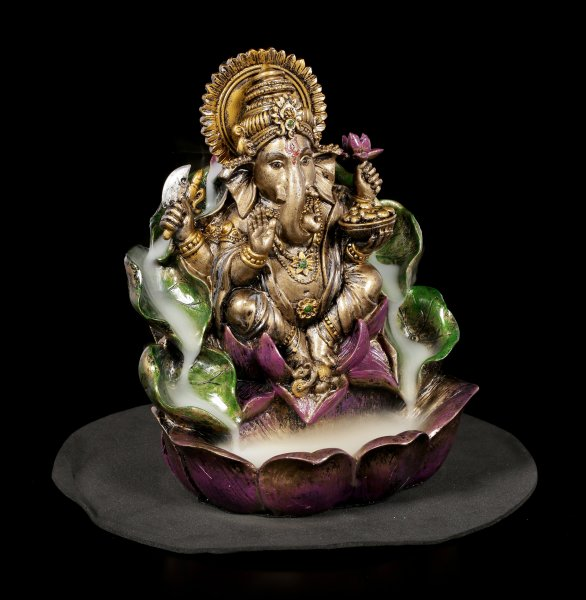 Backflow Incence Cone Holder - Ganesha on Lotus
