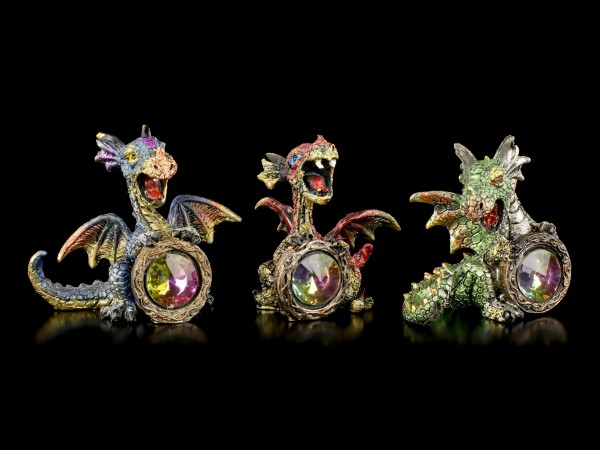 Dragon Figurines Set of 3 - Diamond Fever