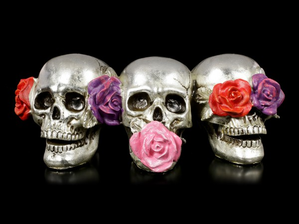 Three Skulls with Roses - No Evil