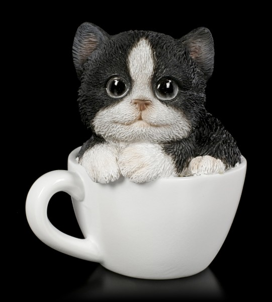 Black-White Kitty in Cup - small