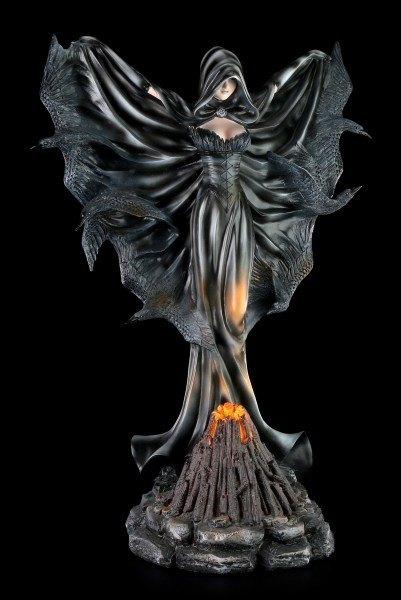 Black Witch Figurine with Raven Wings - LED