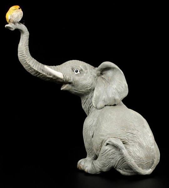 Elephant Figure - Trunky with Bird