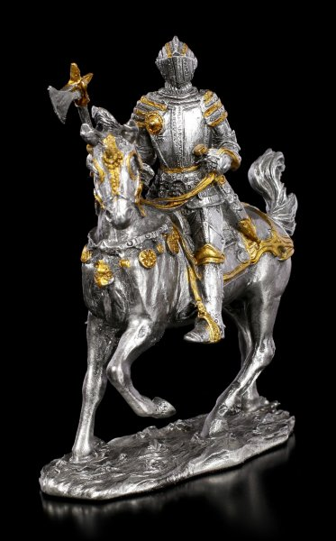 Zinn Ritter Figur auf Pferd mit Axt