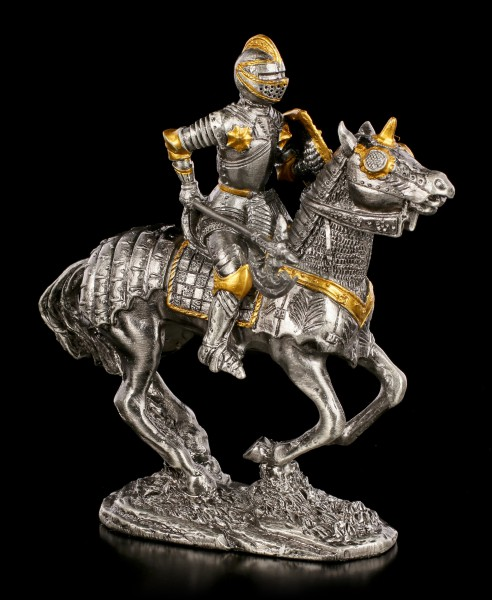 Pewter Knight Figurine with Axe on Horse