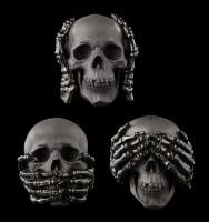 Totenkopf 3er Set - No Evil - schwarz