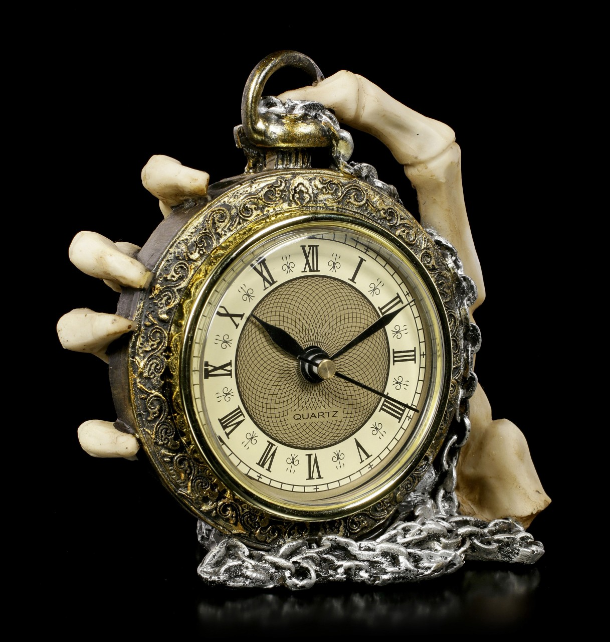 Tischuhr Skeletthand - About Time