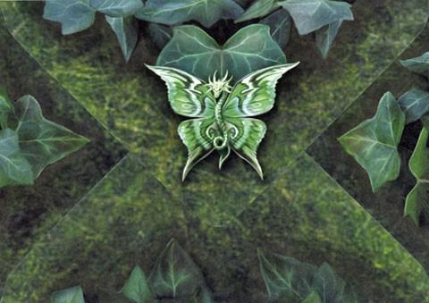 Drachen Grußkarte mit Kreuz - Woodland Guardian