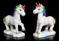 Einhorn Figuren mit Regenbogen Mähne - 2er Set klein