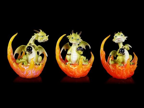 Drachen Figuren in Flammen LED - 3er Set