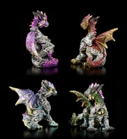 Dragon Figurines Set of 4 - Jewelled Armor