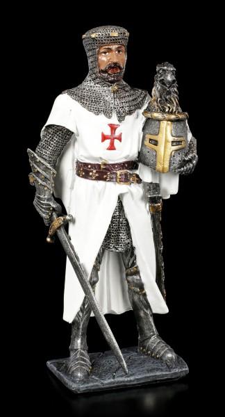 Kreuzritter Figur mit Helm in der Hand