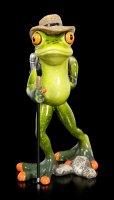 Lustige Frosch Figur als Wanderer