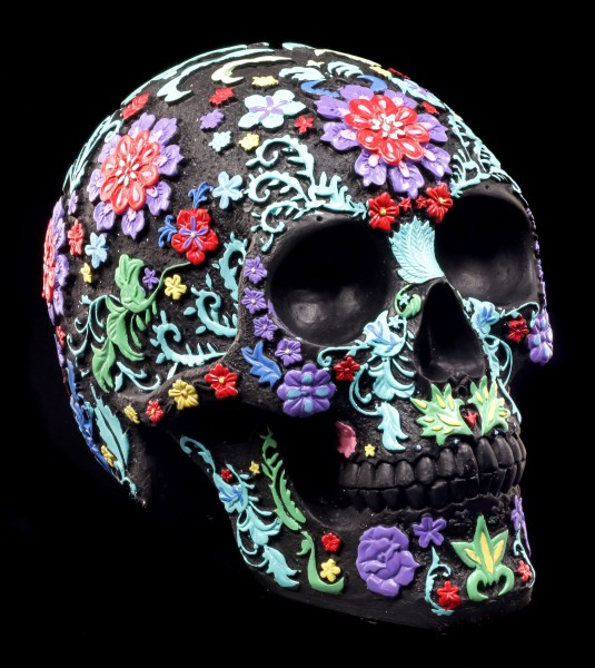 Schwarzer Totenkopf mit buntem Blumenmuster