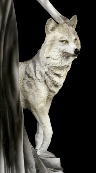 Dark Fairy Figurine with Wolves
