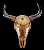 Wandrelief - Ritual Büffel Schädel mit Pentagramm