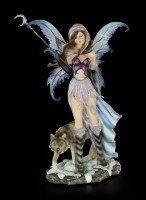 Fairy Figurine - Luna With Moon Bar and Wolf