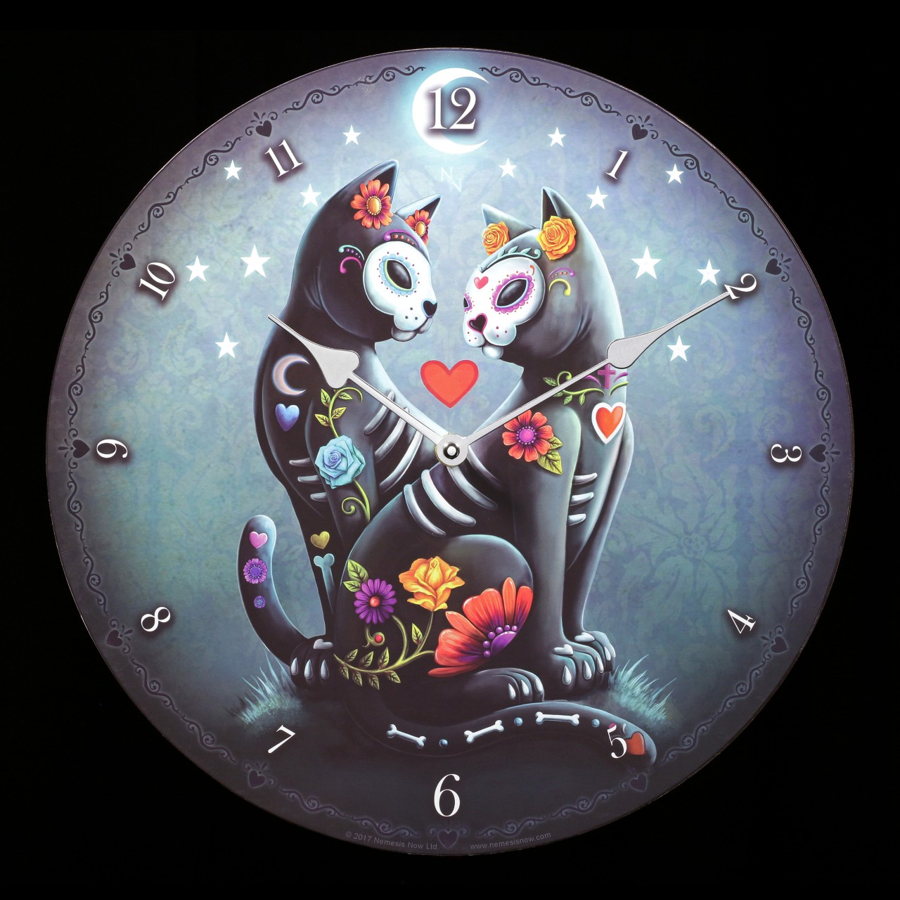 Wall Clock with Cats - Starry Night