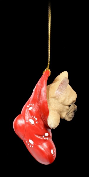 Christmas Tree Decoration Dog - French Bulldog in Stocking