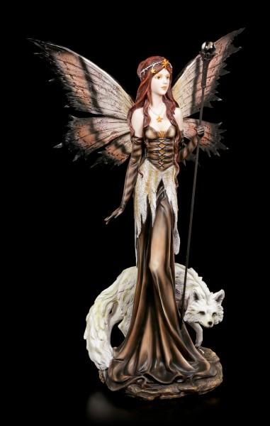 Elfen Figur - Sarja mit weißem Fuchs und Zauberstab