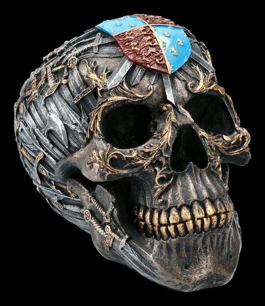 Battle Skull Figurine with Swords
