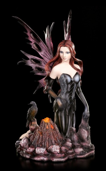 Night Fairy Figurine - Mundia with Raven and Bonfire LED