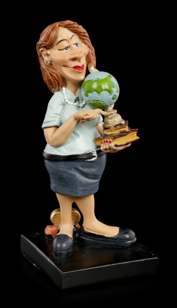 Funny Job Figurine - Teacher with Globe
