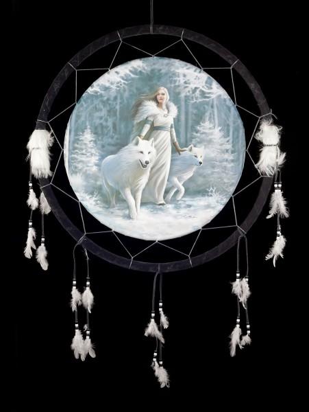 Großer Traumfänger mit Wolf - Winter Guardians