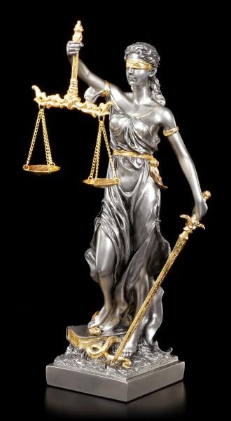 Medium Justitia Figurine - Goddess of Justice - silver gold