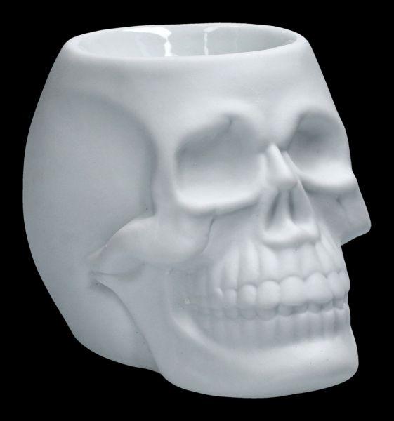 Oil Burner - White Ceramic Skull