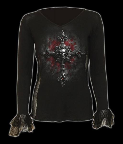 Damen Netz Langarmshirt - Vamp Fangs