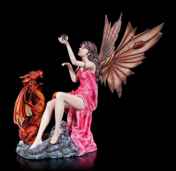 Elfen Figur - Salima mit rotem Drachen