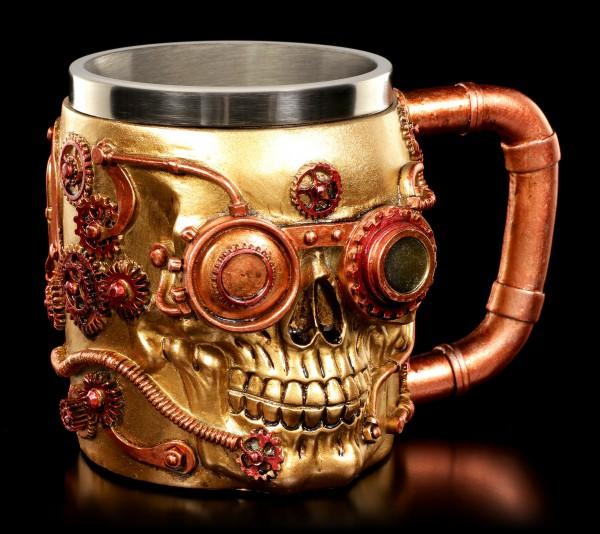 Steampunk Krug - Mechanischer Totenkopf