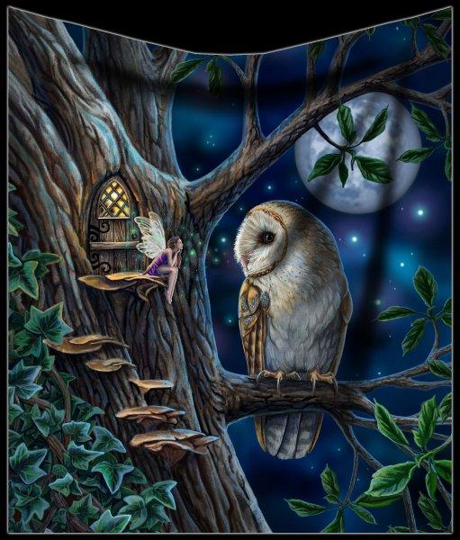 Fleecedecke mit Eule - Fairy Tales