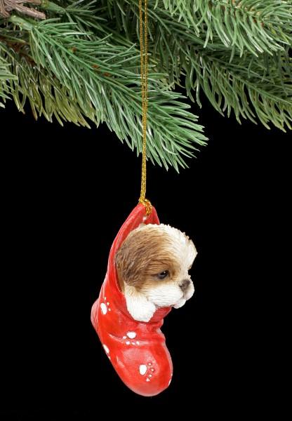 Christmas Tree Decoration Dog - Shih Tzu in Stocking