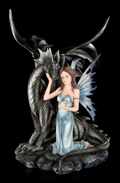 Elfen Figur mit schwarzen Drachen - Alari und Blackwing