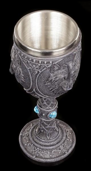 Gothic Goblet - Night Wolf with blue Gemstones