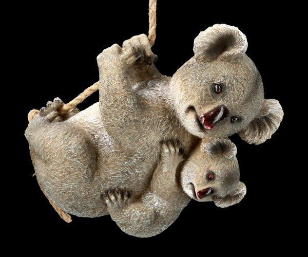 Garden Figurine - Koala Mama with Child on Rope