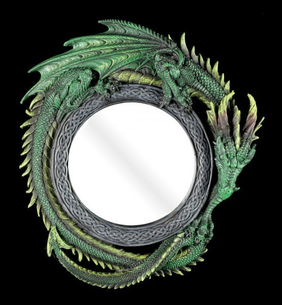 Round Dragon Wall Mirror - Green