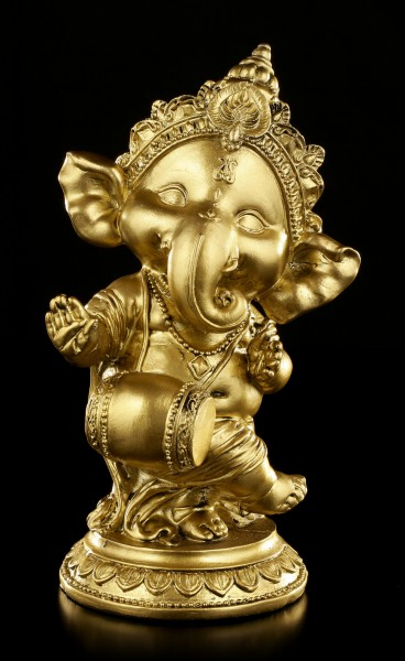 Ganesha Figurine with Drum - gold-colored