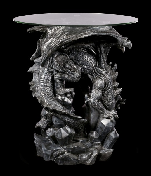 Dragon Table with Glass Plate - Dark Cave