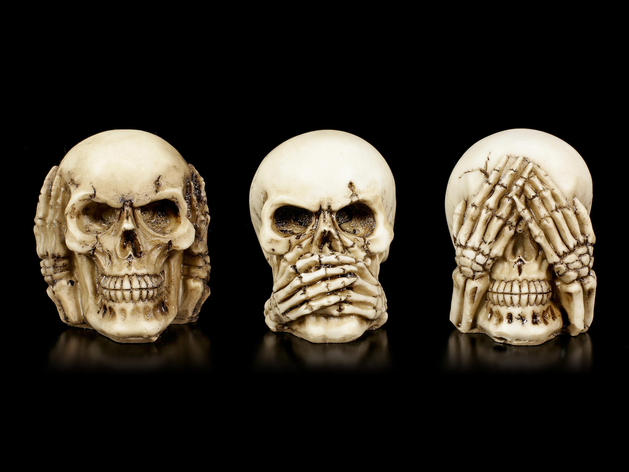 3 Totenköpfe 3er Set Nichts sehen Nichts hören Nichts Sagen,3 Skull Set of 3