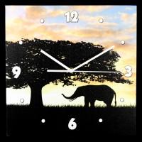 Wanduhr 3tlg - Elefanten und Giraffen