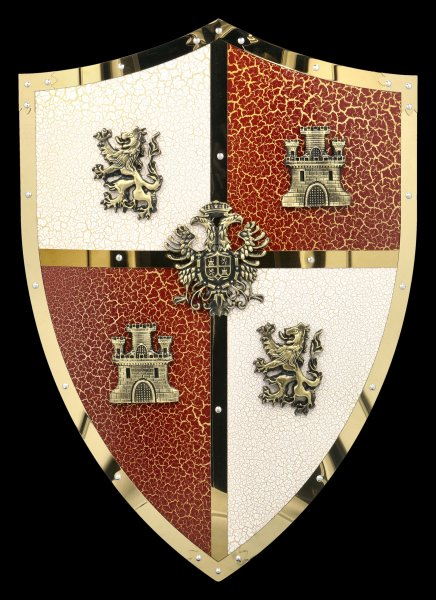 Knights Shield with Lion and Castle Crests