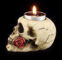 Tealight Holder - Skull with Rose