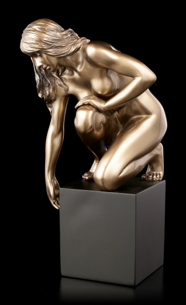 Female Nude Figurine - Kneeling on Monolith